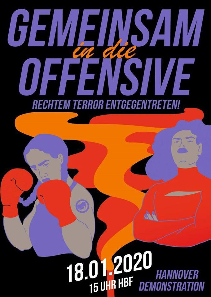 Antifaschistische Demonstration Hannover 18.01.2020 Gemeinsam in die Offensive