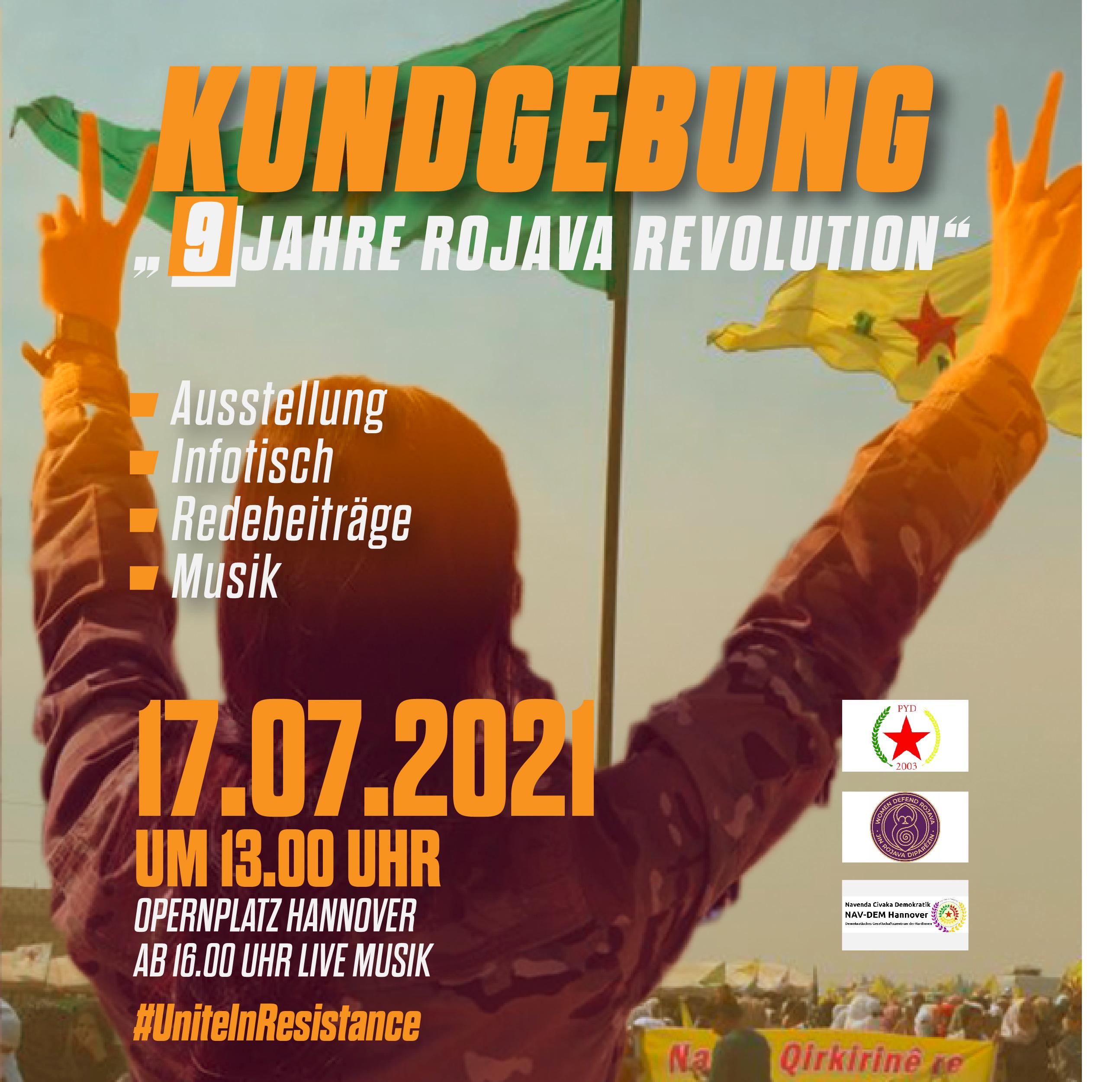 PYD Women Defend Rojava NAV-DEM Hannover 9 Jahre Rojava-Revolution